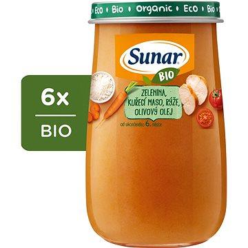 Sunar BIO Zelenina, kuřecí maso, rýže, olivový olej 6× 190 g - Příkrm