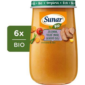 Sunar BIO Zelenina, telecí maso, olivový olej 6× 190 g - Příkrm