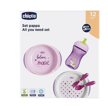 Chicco jídelní set, talíře, příbory, sklenka, 12 m+, růžový - Dětská jídelní sada