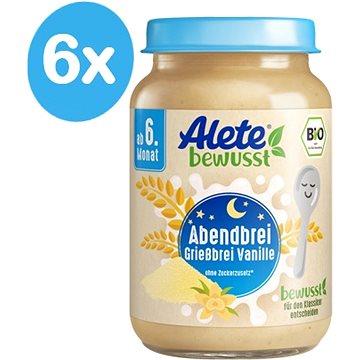 ALETE BIO Kaše večerní semolinová s vanilkovou příchutí 6× 190 g - Mléčná kaše