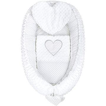 New Baby Luxusní hnízdečko s polštářkem a peřinkou Srdíčko - bílé - Hnízdo pro miminko