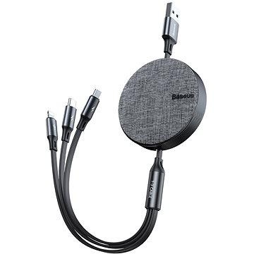 Baseus Fabric 3-in-1 Flexible Cable USB-C + Lightning + microUSB 1.2m grey - Datový kabel