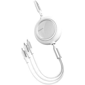 Baseus Bright Mirror 3v1 zatahovací datový kabel USB - M+L+C 3.5A 1.2m White - Datový kabel