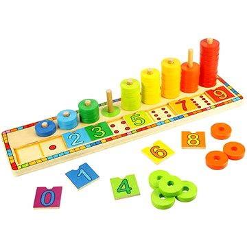 Dřevěná motorická deska - Nasazování s čísly - Didaktická hračka
