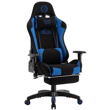 BHM Germany Turbo LED, textil, černá / modrá - Herní židle