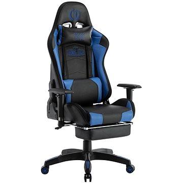 BHM Germany Turbo LED, syntetická kůže, černá / modrá - Herní židle