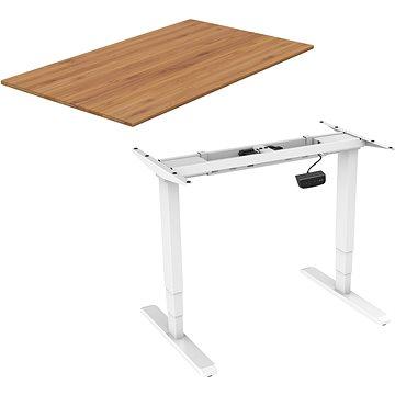 AlzaErgo Table ET1 NewGen bílý + deska TTE-01 140x80cm bambusová - Výškově nastavitelný stůl