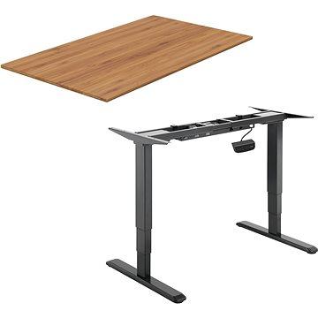AlzaErgo Table ET1 NewGen černý + deska TTE-01 140x80cm bambusová - Výškově nastavitelný stůl