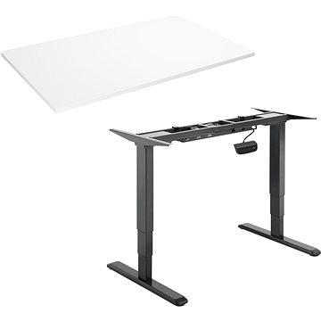 AlzaErgo Table ET1 NewGen černý + deska TTE-03 160x80cm bílý laminát - Výškově nastavitelný stůl