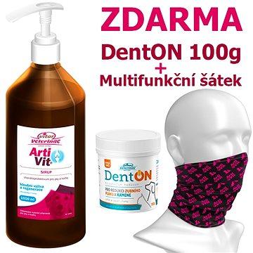 Vitar Veterinae Artivit sirup 1000 ml + DentOn 100 g + Multifunkční šátek ZDARMA - Kloubní výživa pro psy
