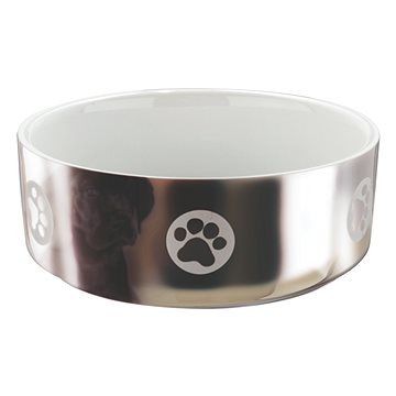 Trixie Miska stříbrná s tlapkami 800 ml - Miska pro psy