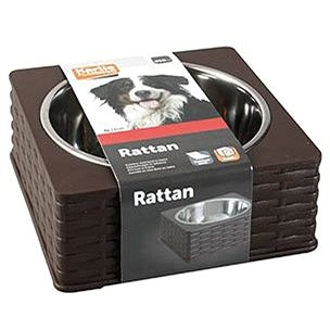 Karlie-Flamingo Miska nerez v plastovém stojánku Rattan Single 850ml - Miska pro psy