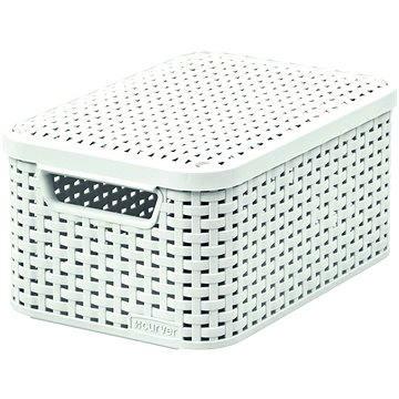 Curver Úložný box RATTAN Style2 s víkem S, bílý - Úložný box