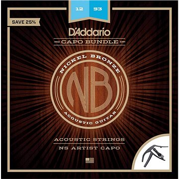 Daddario NB1253-CP10 Nickel Bronze Acoustic Light NS Artist Capo - Struny