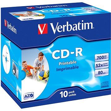 VERBATIM CD-R AZO 700MB, 52x, printable, jewel case 10 ks - Média