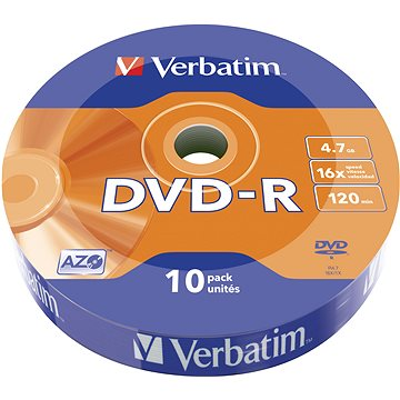 VERBATIM DVD-R AZO 4.7GB, 16x, wrap 10 ks - Média