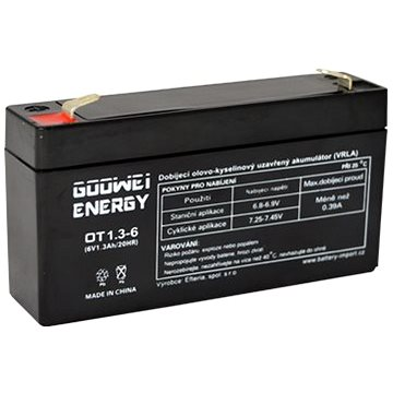 GOOWEI ENERGY Bezúdržbový olověný akumulátor OT1.3-6, 6V, 1.3Ah - Nabíjecí baterie