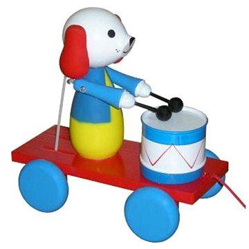 Tahací pes s bubnem - Tahací hračka