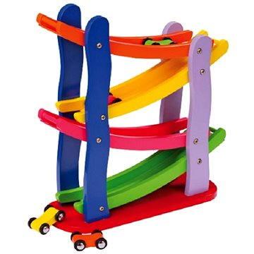 Dřevěná závodní dráha 4 autíčka - Didaktická hračka