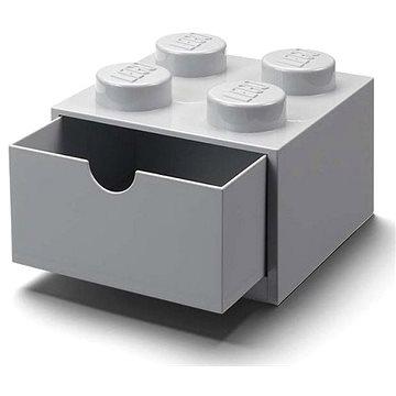 LEGO stolní box 4 se zásuvkou - šedá - Úložný box