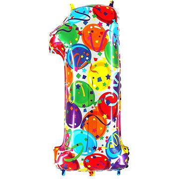 "Foliový balónek, 102cm, číslice ""1"", barevný - Balonky"