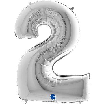 """Foliový balónek, 102cm, číslice """"2"""", stříbrný - Balonky"""