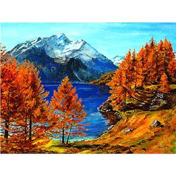 Malování podle čísel - Jezero pod horou 40x50 cm bez rámu a bez vypnutí plátna - Malování podle čísel
