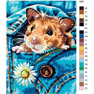Malování podle čísel - Křeček s kopretinkou 60x80 cm bez rámu a bez vypnutí plátna - Malování podle čísel