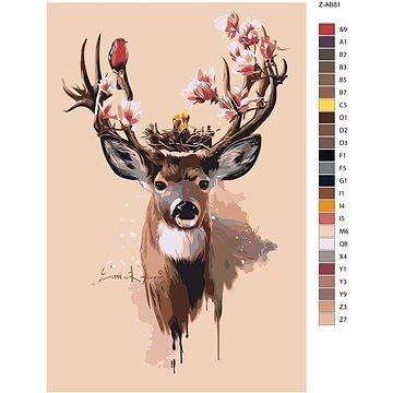 Malování podle čísel - Jelen s magnólií 40x60 cm bez rámu a bez vypnutí plátna - Malování podle čísel