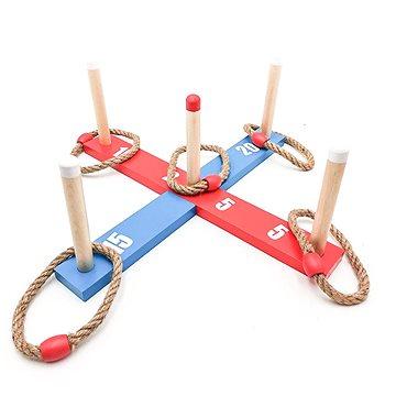 Házecí hra kříž s kruhy dřevo/provaz 12ks - Venkovní hra