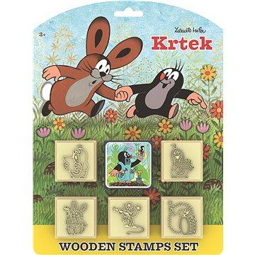 Razítka Krtek s poduškou 5x5cm dřevěná 6ks na kartě - Razítka