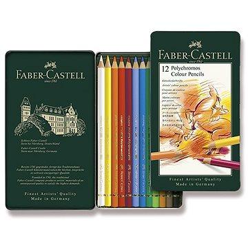 Pastelky Faber-Castell Polychromos v plechovové krabičce, 12 barev - Pastelky
