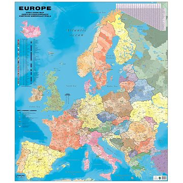 Evropa PSČ Obria 135x160cm lamino, plastové lišty nástěnná mapa - Mapa