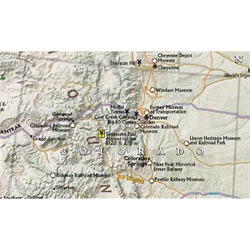 Railroad Legacy Map of the United States 61x91cm lamino s lištami nástěnná mapa - Mapa