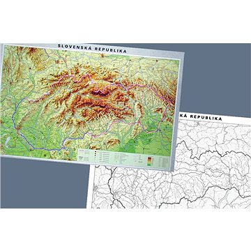 Slovensko Duo geografické / slepá mapa 1:350tis 100x140cm lamino, lišty nástěnná mapa - Mapa