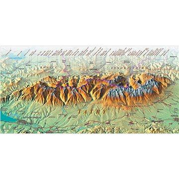 Vysoké Tatry 52x100cm panoramatická lamino, lišty nástěnná mapa - Mapa