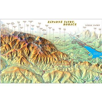 Západní Tatry, Roháče 70x100cm panoramatická lamino, lišty nástěnná mapa - Mapa