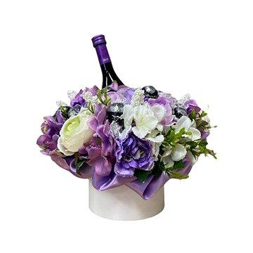 Květinový box z pryskyřníků fialový s Lindt bonbóny a sektem 35 cm - Dárkový box