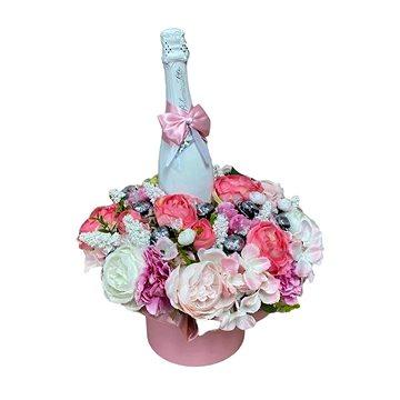 Květinový box z pryskyřníků růžový větší s Lindt bonbóny a sektem 47 cm - Dárkový box