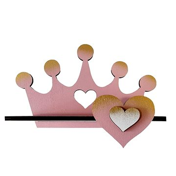 Polička - koruna/růžová - Dětský nábytek