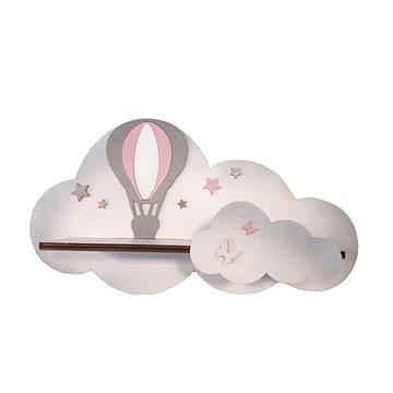 Polička - létající balon/růžový - Dětský nábytek