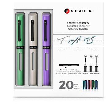 Sheaffer Calligraphy, Maxi Kit 2019, mint, bílá, fialová - Plnicí pero