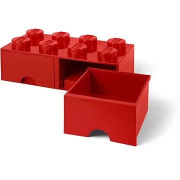 LEGO Úložný box 8 s šuplíky - červená - Úložný box