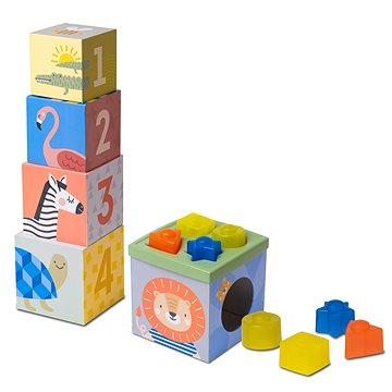Taf Toys Sada kostek a tvarů Savana - Obrázkové kostky