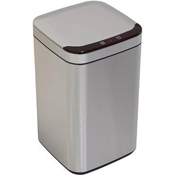 iQtech Deodorizér 13 l, odpadkový koš bezdotykový, hranatý, stříbrný - Bezdotykový odpadkový koš