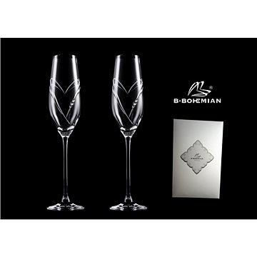 B.BOHEMIAN Svatební skleničky na sekt 210 ml HEARTS 2 ks - Sklenice na šampaňské