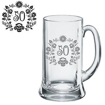 JTF Pivní půllitr 0,5 l Jubileum motiv květinky - Sklenice na pivo
