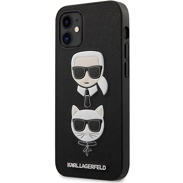 Karl Lagerfeld Saffiano K&C Heads pro Apple iPhone 12 Mini Black - Kryt na mobil