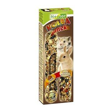 Nestor Tyčinka 2v1 pro hlodavce a králíky biskvit ořechy 115g 2ks - Pamlsky pro hlodavce
