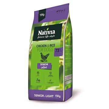 Nativia Senior & Light – Chicken & Rice 15 kg - Granule pro psy